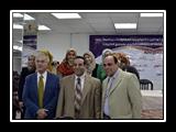 أ.د/ غازي عصاصة، ود/ محمد محمدي غانم، وأ/ خالد مصطفى مع اعضاء من فريق البوابة الإلكترونية