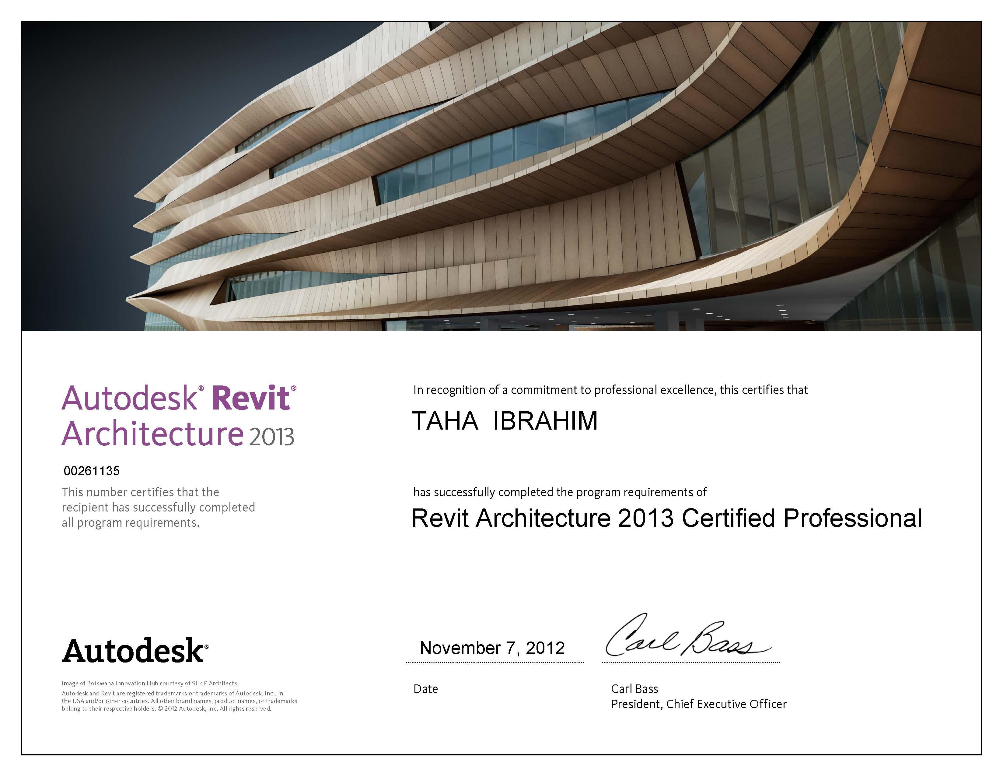 Taha awad allah el sayed ibrahimphotos certification of revit architecture 2013 professional 1betcityfo Choice Image