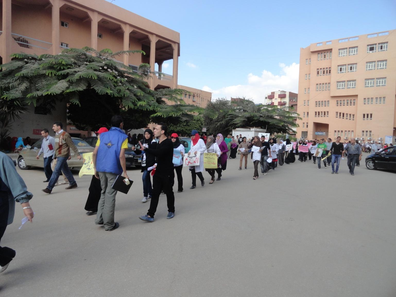 مسيرة لجوالات الجامعة بمدينة بنها