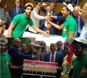 جامعة بنها تستقبل شعلة أسبوع شباب الجامعات
