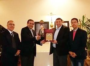 وفد جامعة بنها في زيارة للسفارة المصرية بالعاصمة الأردنية عمان