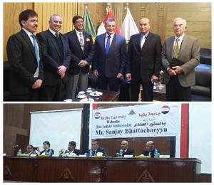 L 'Ambassadeur indien au Caire lors de sa visite à l 'Université de Benha : Augmentation des investissements dans le marché égyptien, Mettre un nouveau médicament indien pour traiter virus C, Des programmes et des bourses d 'études avec les universités égyptiennes
