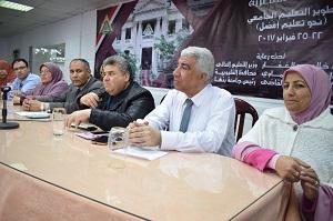 رئيس جامعة بنها يتابع ورش عمل منتدي حوار تطوير التعليم