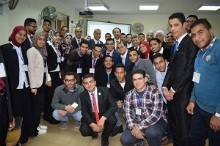 The Former Minister of Higher Education, the Head of Sport Union in the Egyptian Universities and the President of Benha University inspect the Workshops of the Education Forum