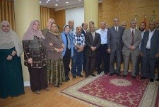 The vice president of Benha University discusses the university's accomplishments in front of the faculties' secretaries and the general managers