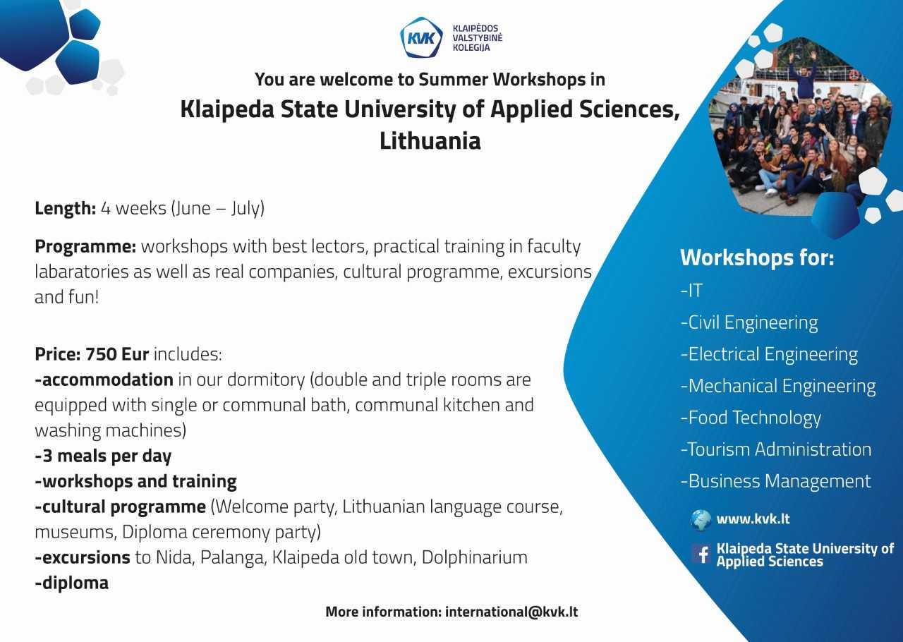 التعاون الدولي: برامج تدريبية  صيف 2018  في الجامعات الأوروبية  (ليتوانيا)    KLAIP ĖDA STATE UN IVERSITY OF APLLIED SCIENCES