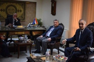 El-kady and Benha university delegation visit Qulubia security director to congratulate him on the police day