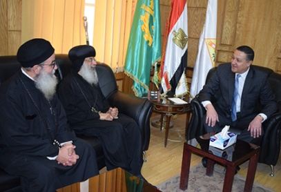 The President of Banha University receives a delegation from the Coptic Orthodox Church.