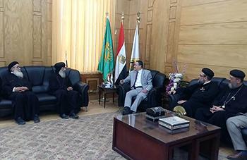 رئيس جامعة بنها يستقبل وفدا من الكنيسة الأرثوذكسية للتهنئة بعيد الفطر