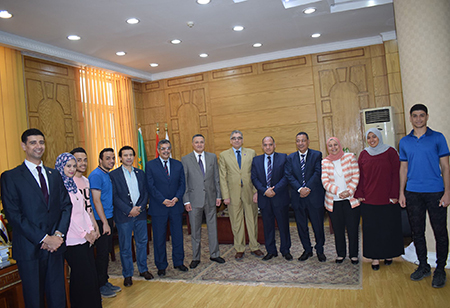 Benha University President receives participants at the 7th National Youth conference